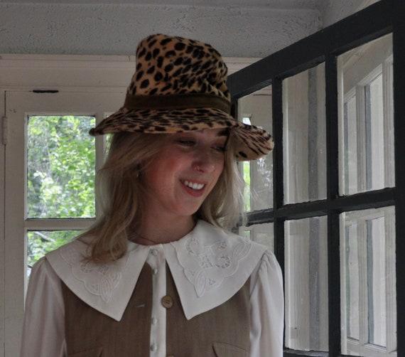 Leopard Print Brimmed Hat/Vintage 1970s/Mr. John M