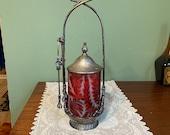 Antique Victorian PICKLE CASTER cranberry rare thistle pattern opal opalescent Glass silver plate condiment jar