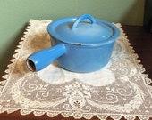 Vintage Descoware Belgium blue Dutch Oven Skillet Pan Pot Kitchen enamel Cast Iron