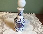 Antique PERFUME Dresser crystal Bottle opaline blue glass cobalt decanter