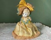Antique Porcelain Japan China Figurine Doll Girl lace beauty outfit dress hat