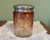 Antique Moser Quality Tobacco JAR Rubina Glass Repousse Silver Lid Gold enamel Floral Cranberry encrusted crystal glass