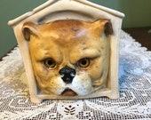 Antique Victorian FAIRY LAMP LANTERN Bisque glass eyes dog Bull dog house