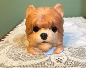 Antique Victorian FAIRY LAMP LANTERN Bisque glass eyes dog Terrier blue scarf ribbon