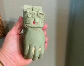 Victorian Cast Iron Door Knocker Hand Gloved Glove Ball Antique Doorbell