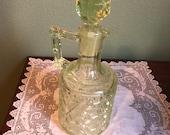 Antique Vaseline Glass DECANTER CRUET Bottle Richards Hartley perfume Scent Uranium Dish Daisy button crossbars