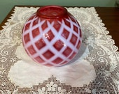 Antique Rare Victorian Vase ROSE BOWL pink cranberry Art Glass Rare BUbble LATTICE rosebowl