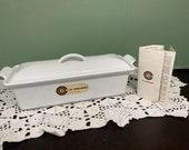 Vintage Le Creuset LOAF PAN Turrine Bread White Oven Skillet Pan Pot Kitchen enamel Cast Iron