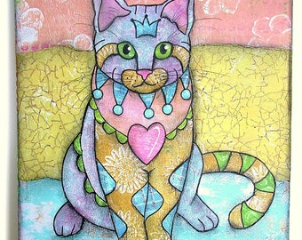Custom Pet Portrait, Cat Art, Dog Art, Personalized Pet Art, Colorful Dog Art, Whimsical Custom Pet Portrait, Colorful Pet Art