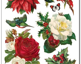 Christmas Roses & Greenery Stickers for Crafting-2 sheets