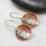 hammered copper, aqua amazonite, appatite earrings / handmade earrings /rustic, boho / silver earrings / Toronto Ontario / Canadian artisan