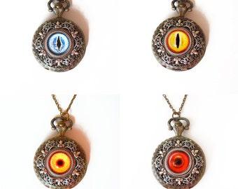 Eyeball  Pocket watch necklace