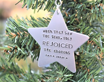 Personalized star christmas ornament, when they saw the star they rejoiced ornament, christian christmas ornaments, matthew 2:10 ornament