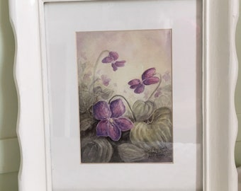 Wild Violets, matted and framed, ready to hang, 10 1/2 x 12 1/2 inches.