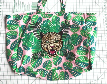 Leopard and Palm Large Fabric Shoulder Tote Bag