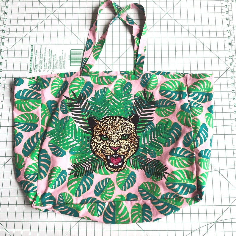 Leopard and Palm Large Fabric Shoulder Tote Bag image 0
