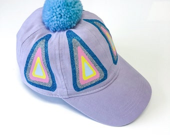 Lilac Rainbow Triangle Design Cap with Pom Pom - Fits Toddler to Adult