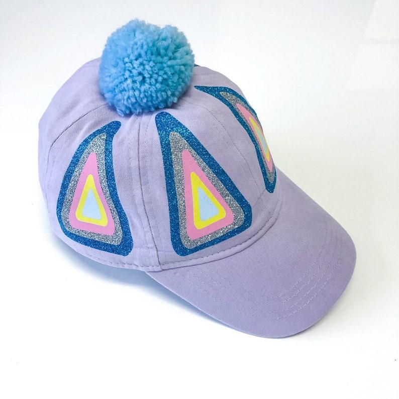 Lilac Rainbow Triangle Design Cap with Pom Pom  Fits Toddler image 0