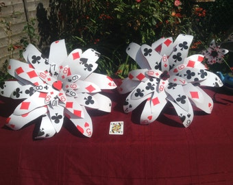 Giant flower playing card bouquet las vegas casino Alice in wonderland wedding party
