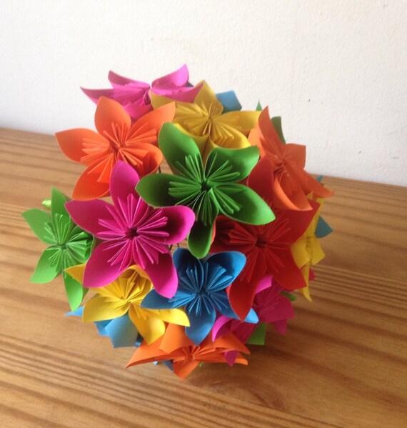 Origami kusudama paper flower rainbow bouquet etsy image 0 mightylinksfo