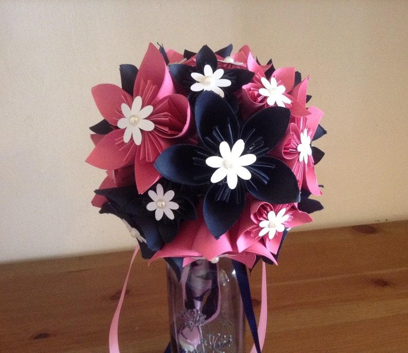 Origami kusudama paper flower bouquet