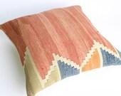 Turks Handmade Kilim Pillow Case, Modern Pillow, Throw Pillow  -16X16 inch