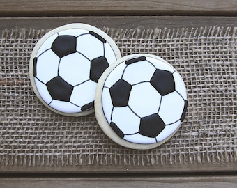 Soccer Favors / Soccer Ball Favors / Soccer Party Decorations / Soccer Ball Party Decorations / Soccer Ball Sugar Cookies - 12 cookies