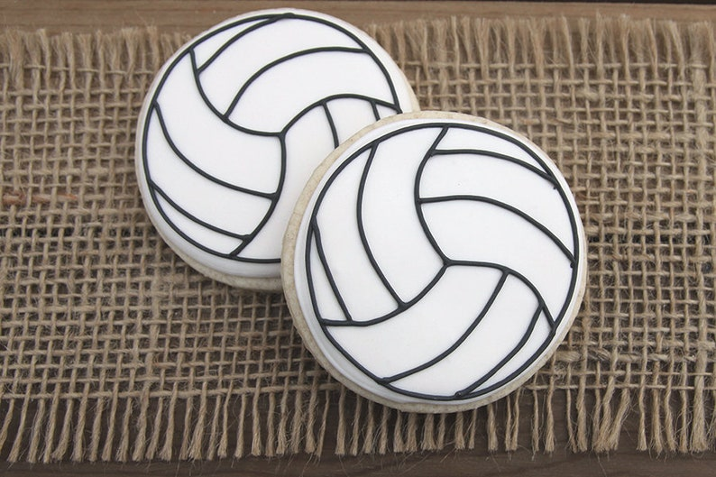 Volleyball Cookies Volleyball Party Favors Volleyball Etsy