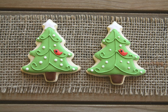 Christmas Party Favors Christmas Sugar Cookies Christmas Gifts For Teachers Gift Basket Christmas Tree Sugar Cookies 12 Cookies