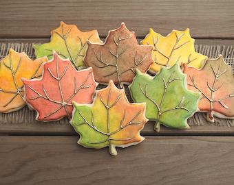 Fall wedding favor etsy fall leaf sugar cookies leaf cookies leaf favors fall party favors fall junglespirit Image collections