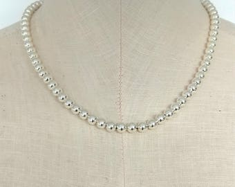 5fbaf8eae Silver bead necklace, Silver necklace, silver bead necklace, Tiffany style  necklace, silver bead jewelry, bead necklace, silver jewelry