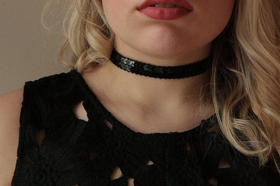 Black Choker, sequin Choker Necklace, Black Choker, sequin choker, choker necklace, Chic Choker, choker necklace, party choker ,gift choker