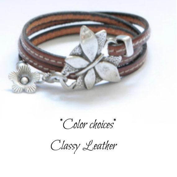 Butterfly Bracelet, Leather bracelet, women bracelet, wrap bracelet, trendy bracelet, cuff bracelet, women wrap, uno de 50 style