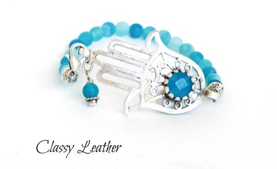 Hand of Fatima bracelet, fatima bracelet, Aqua Blue Jade Stone, Zamak bracelet, Beaded bracelet, Light Blue Frosted Agate