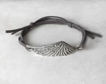 Vegan anklet, Boho anklet, Wings anklet, Suede anklet, Bohemian jewelry, Silver wing jewelry,  Women anklet, Vegan jewelrymother day gift