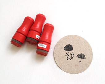 Rainy Days Rubber Stamp Set // 3 Mini Stamps // Umbrella Cloud Raindrops