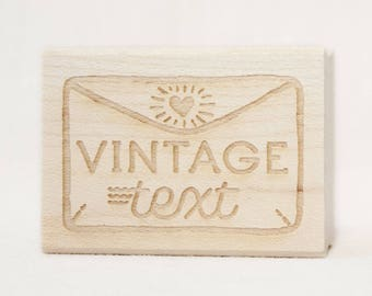 Vintage text stamp, wooden stamp, rubber bottom, sarcastic mail stamp, stamp for envelope or mail, packaging, funny stamp happy mail