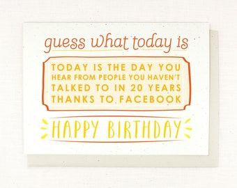 Birthday Card, Facebook Birthday, Funny, Humorous, Honest, Happy Facebook Birthday Card - Funny & Silly, sale