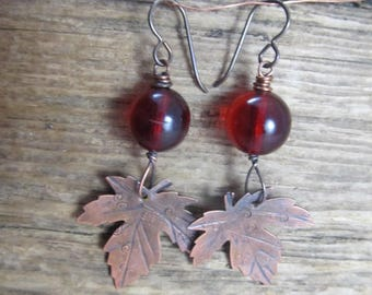 Hammered copper leaf earrings with copal beads