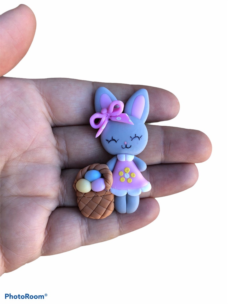 Grey Easter Bunny Handmade crafting embellishment Also great for Hair Bows. Add magnet to back