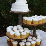 Rustic Wedding Cupcake Stand Cake Dessert Server Log Slice 4 Tier Log Slices