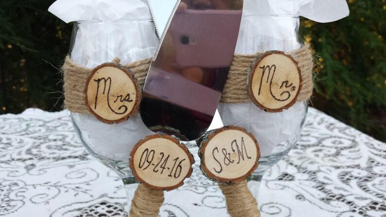 Server Set and Wine Glasses, Wedding Server Set, Rustic Server Set, Rustic  Wine Glasses, Rustic Cake Knife, Mr and Mrs Wine Glasses