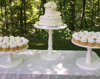 Cake Stand, Wood Cake Stand, Shabby Chic Cake Stand, Wedding Cake Stand, Shabby Chic Wedding, Wood Cake Stand, Cupcake Stand, Set of 3 Stand