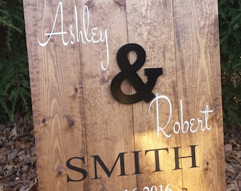 Rustic Wedding Sign, Family Name Sign, Personalized Wood Sign, Ampersand Sign, & Sign, Save The Date, Name and Date Sign, Reception Sign