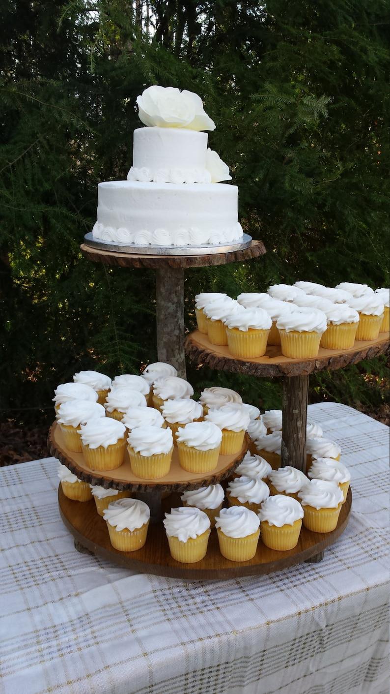 Rustic Wedding Cupcake Stand Cake Dessert Server Log Slice 4 image 0