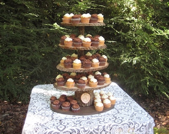Rustic Cupcake Stand, Wedding Wood Dessert Bar 5 Tier X Large Personalized Cake Stand