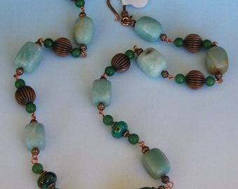 Lampwork Glass Copper Jade Amazonite Necklace Green OOAK