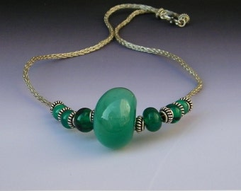 Green Hollow Lampwork Glass and Silver Viking Knit Necklace OOAK SRA