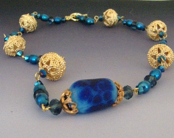 Blue Etched Lampwork Glass, Crystal, Pearl and Gold-Plated Brass Necklace OOAK SRA