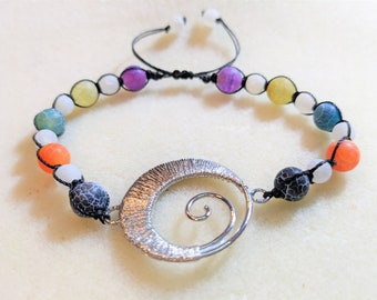 Multi Color Halloween Beaded Adjustable Bracelet - Sally